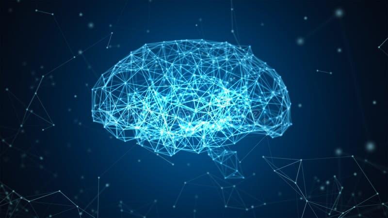 数字资料和在黑背景隔绝的人脑的网络连接以人工智能的形式为 皇族释放例证