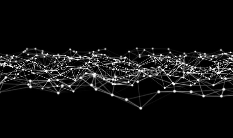 数字资料和网络连接三角线和球形在未来派技术概念在黑背景,3d摘要 皇族释放例证