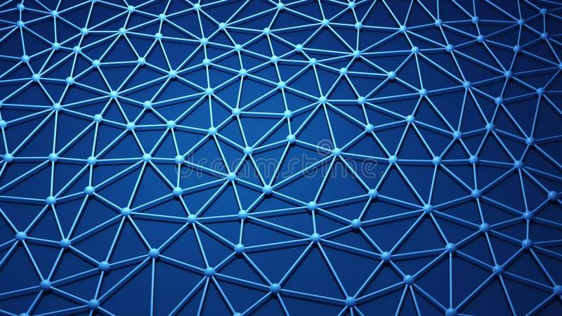 数字资料和网络连接三角线和球形我 库存例证