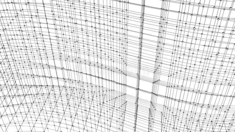数字资料和网络连接三角线和球形我 皇族释放例证