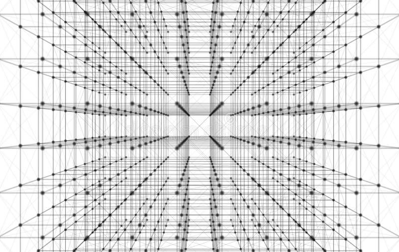 数字资料和网络连接三角线和球形我 向量例证