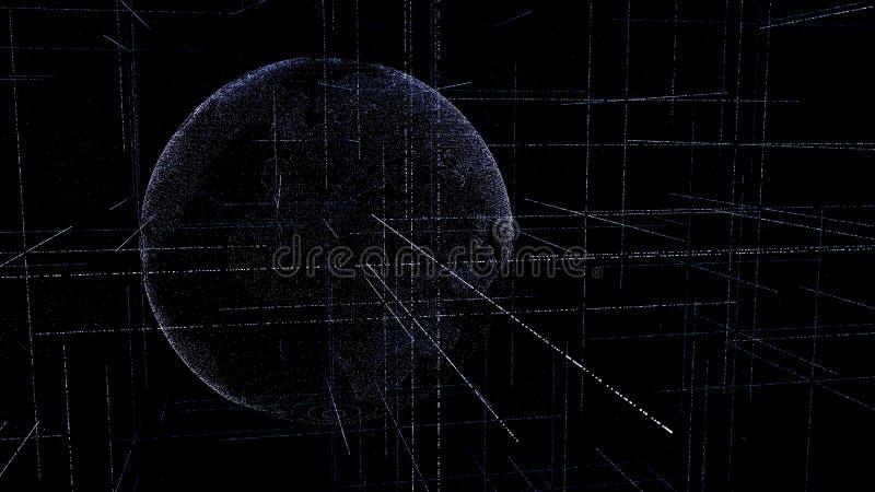 数字资料地球-表达连通性的科学技术数据网围拢的行星地球的抽象例证, 向量例证