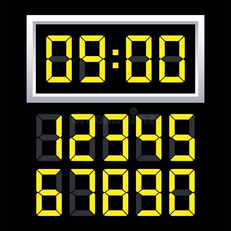 数字钟数字集合 也corel凹道例证向量 皇族释放例证