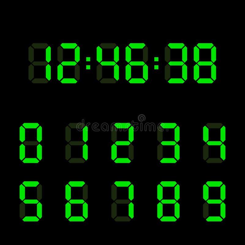 数字钟数字集合 电子图 也corel凹道例证向量 向量例证