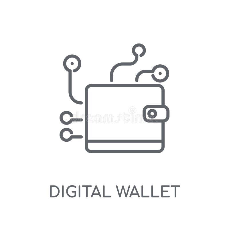 数字钱包线性象 现代概述数字钱包商标c 库存例证
