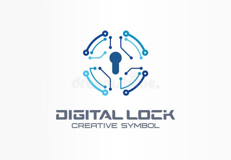 数字锁创造性的标志概念 电路圈子保险柜,银行通入系统摘要企业商标 财务金钱 向量例证