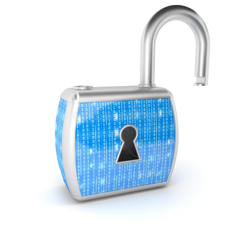 数字锁,e安全概念 锁定开放 库存例证