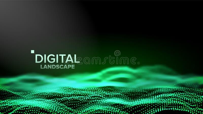 数字风景传染媒介 数据技术 波浪山 技术表面 小点土地 几何数据 3d例证 库存例证