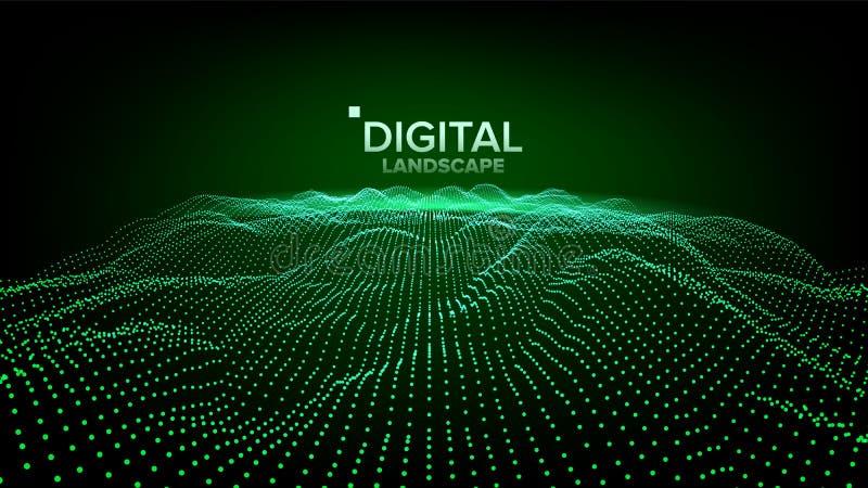 数字风景传染媒介 数据技术 波浪山 技术表面 小点土地 几何数据 3d例证 皇族释放例证