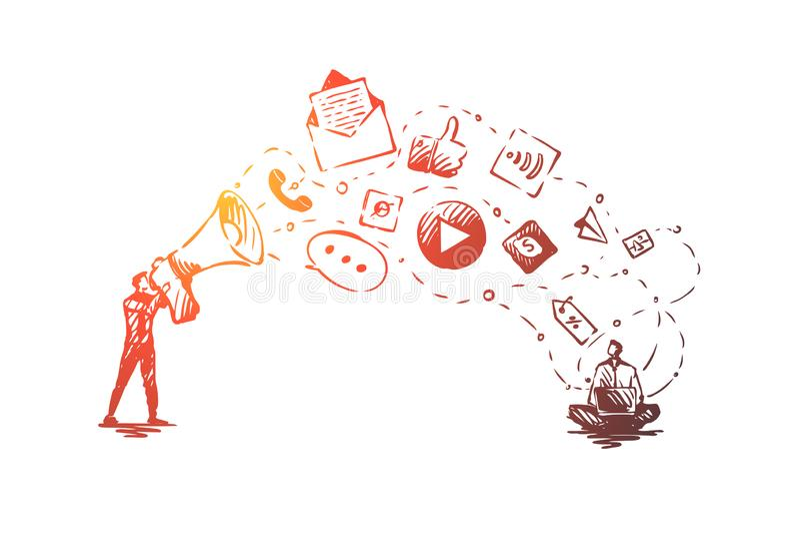数字,销售,网上,网站,媒介概念 手拉的被隔绝的传染媒介 库存例证