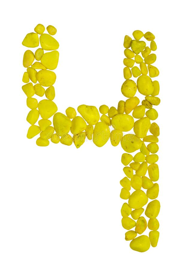 数字4或信件在白色背景隔绝的黄色石头h  免版税图库摄影