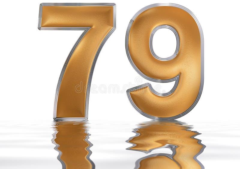 数字79,七十九,反射水表面上, isolat 向量例证