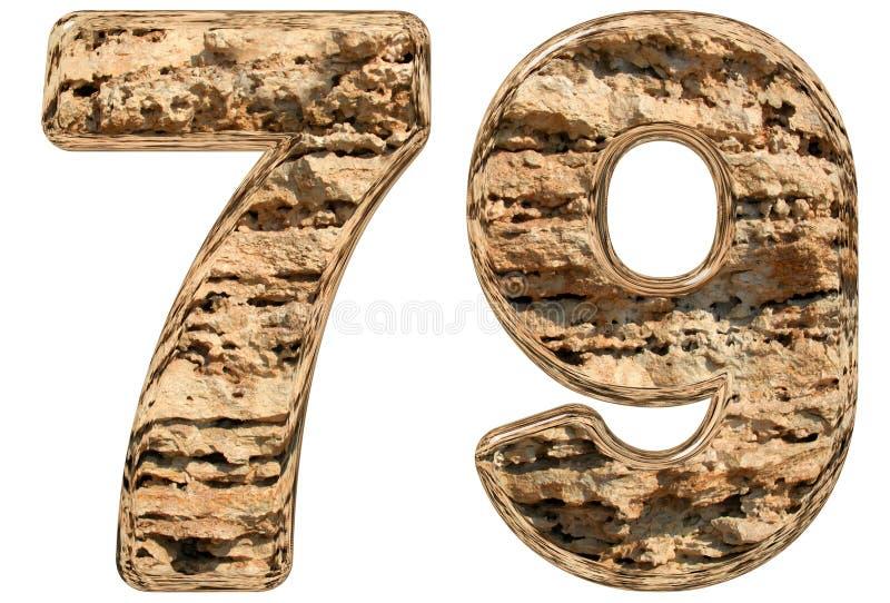 数字79,七十九,在白色,自然石灰石, 皇族释放例证