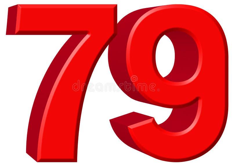 数字79,七十九,隔绝在白色背景, 3d rende 库存例证