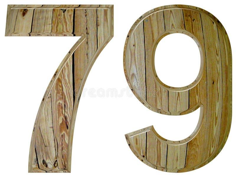 数字79,七十九,隔绝在白色背景, 3d rende 向量例证