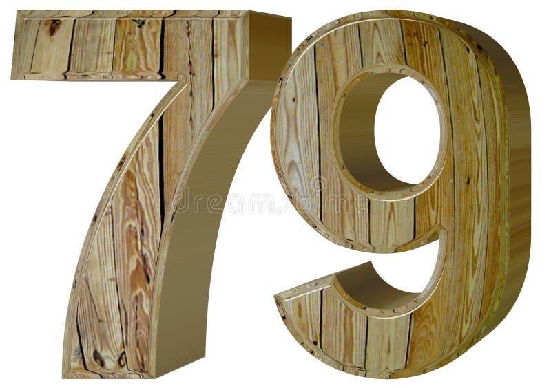 数字79,七十九,隔绝在白色背景, 3d rende 皇族释放例证