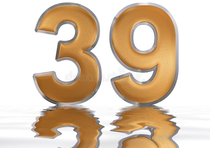 数字39,三十九,反射水表面上,孤立 向量例证