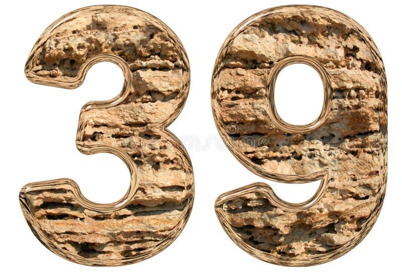 数字39,三十九,隔绝在白色,自然石灰石, 3 库存例证