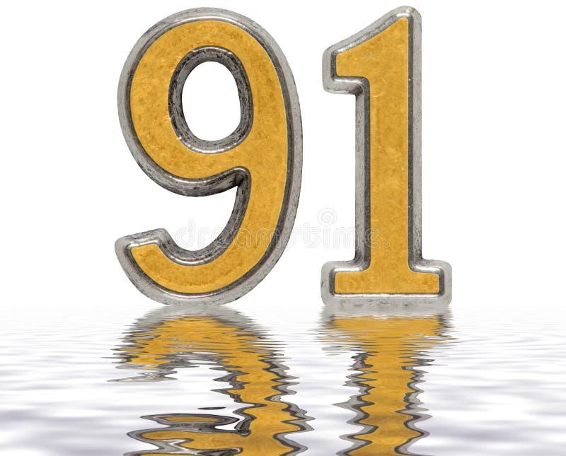 数字91,九十一,反射水表面上,被隔绝 向量例证