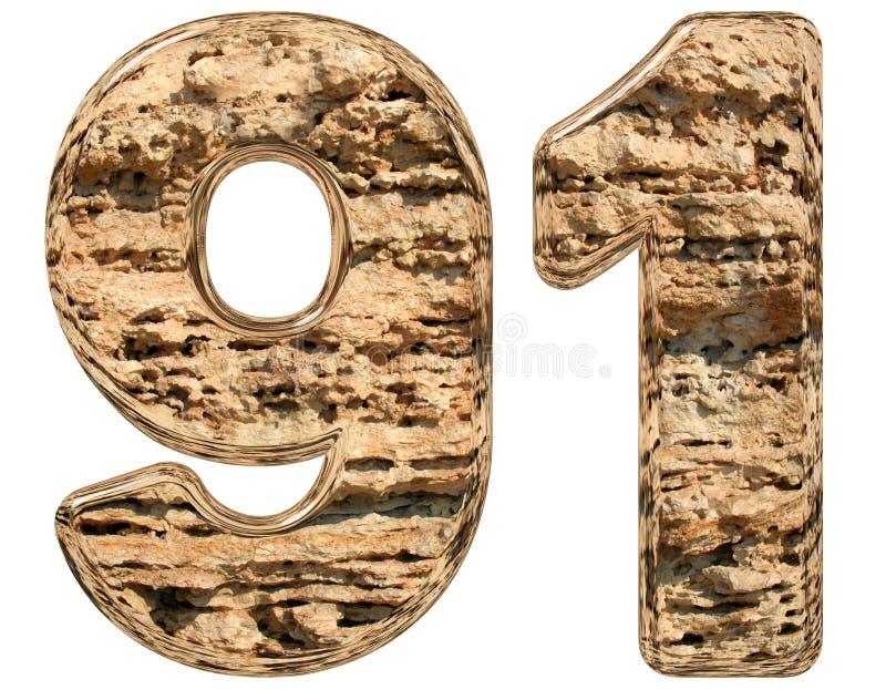 数字91,九十一,在白色,自然石灰石, 3d 皇族释放例证