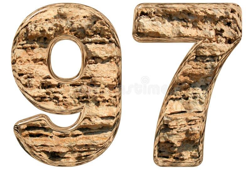 数字97,九十七,九十,在白色,自然林 库存例证