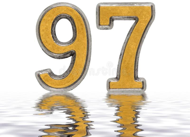数字97,九十七,反射水表面上 库存例证