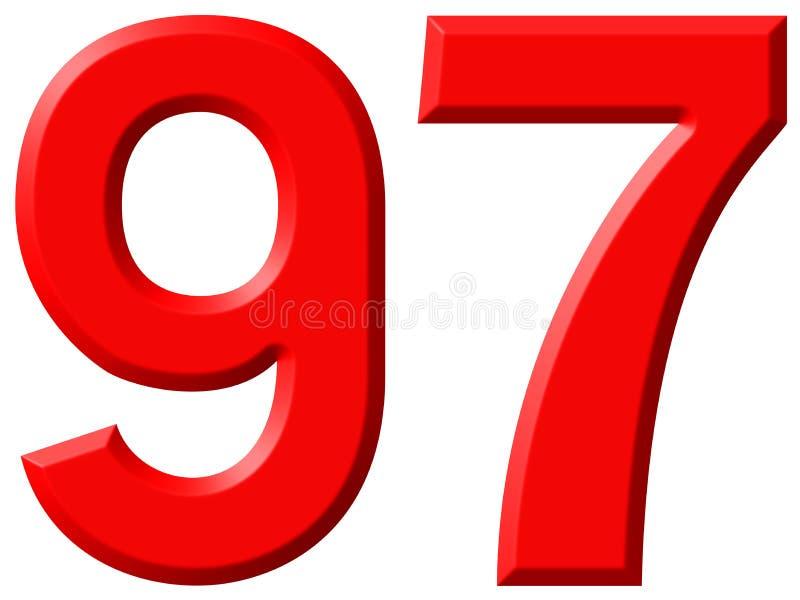 数字97,九十七,隔绝在白色背景, 3d 向量例证