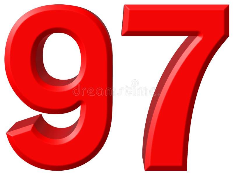 数字97,九十七,隔绝在白色背景, 3d rende 皇族释放例证