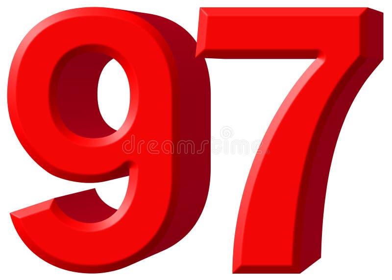数字97,九十七,隔绝在白色背景, 3d rende 向量例证