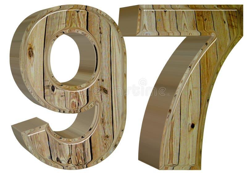 数字97,九十七,隔绝在白色背景, 3d rende 库存例证