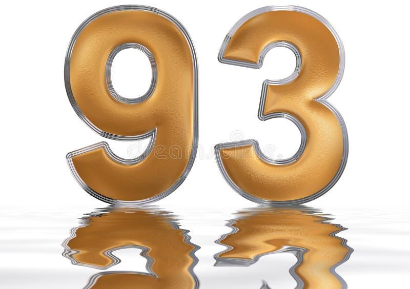 数字93,九十三,反射水表面上, isolat 向量例证