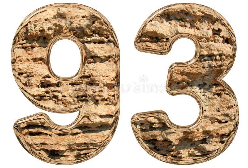 数字93,九十三,在白色,自然石灰石, 皇族释放例证