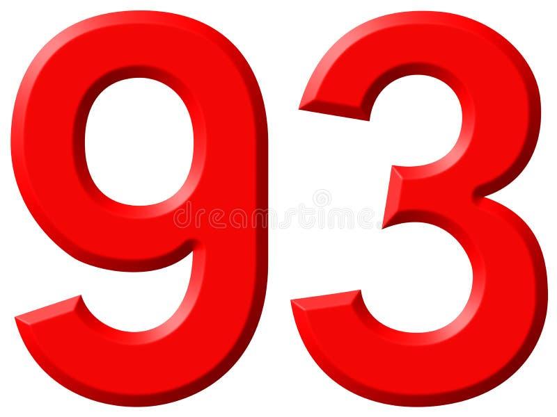 数字93,九十三,隔绝在白色背景, 3d 皇族释放例证