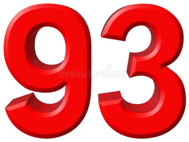 数字93,九十三,隔绝在白色背景, 3d rende 向量例证