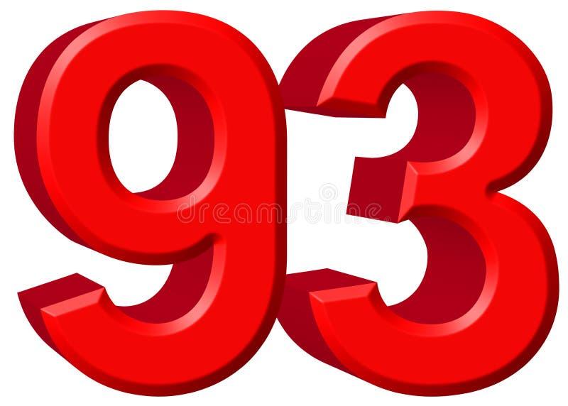 数字93,九十三,隔绝在白色背景, 3d rende 皇族释放例证