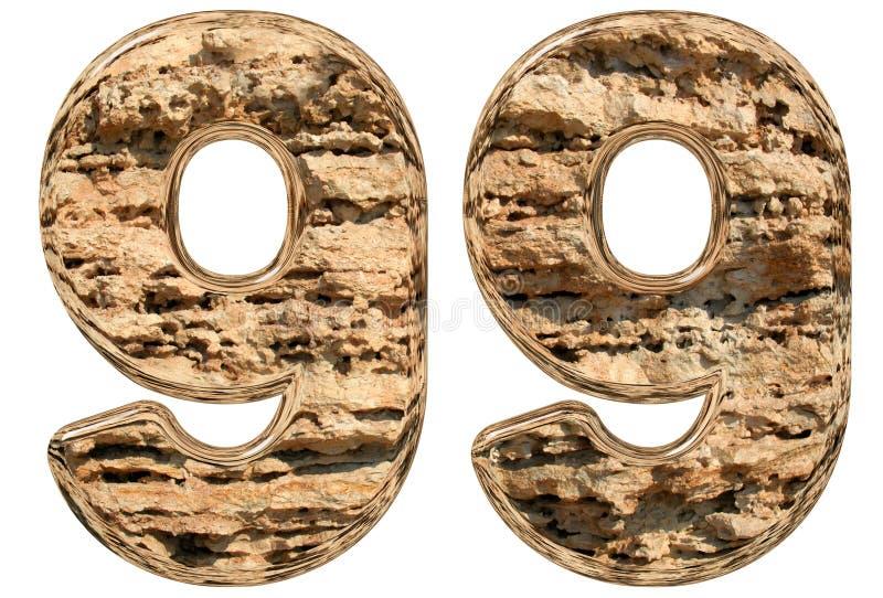 数字99,九十九,在白色,自然石灰石, 3 库存例证