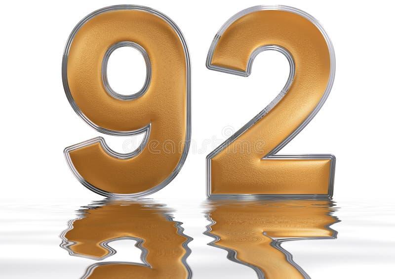数字92,九十二,反射水表面上, 向量例证