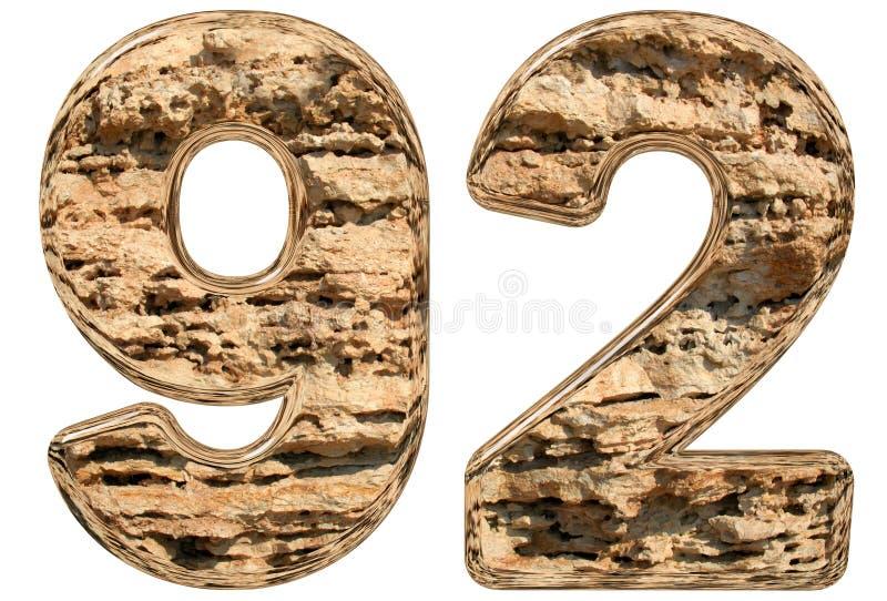 数字92,九十二,在白色,自然石灰石, 3d 向量例证