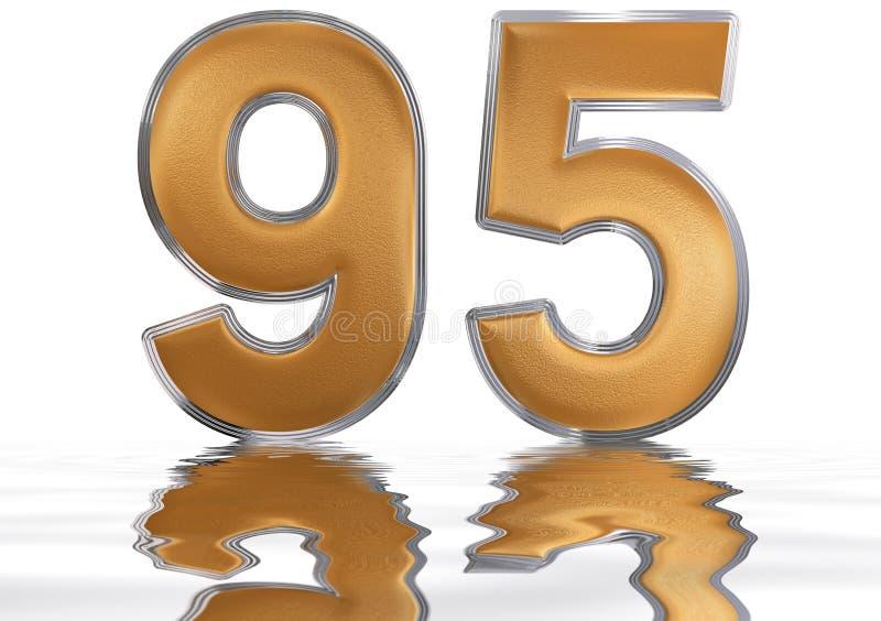 数字95,九十五,反射水表面上,孤立 向量例证