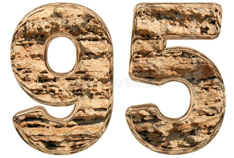 数字95,九十五,在白色,自然石灰石, 3 皇族释放例证