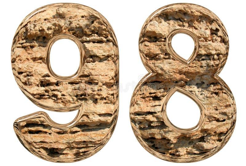 数字98,九十八,在白色,自然石灰石, 库存例证