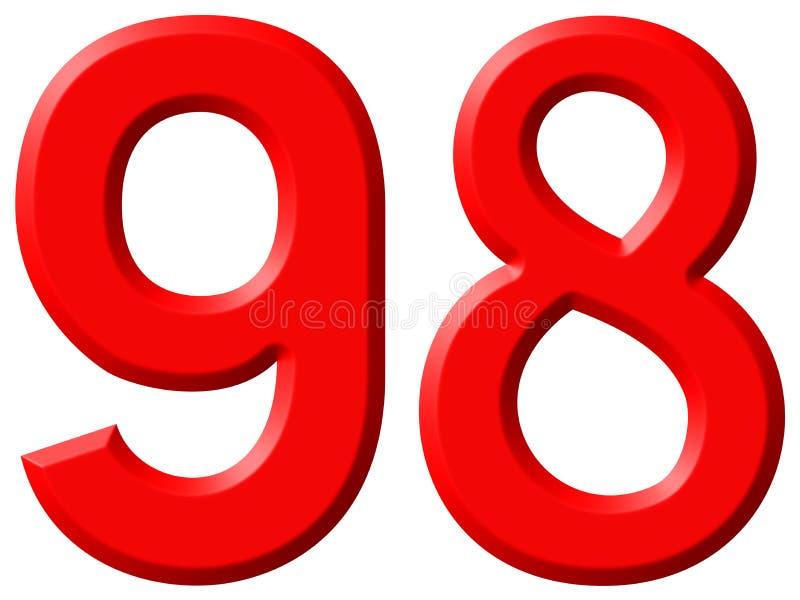 数字98,九十八,隔绝在白色背景, 3d 皇族释放例证
