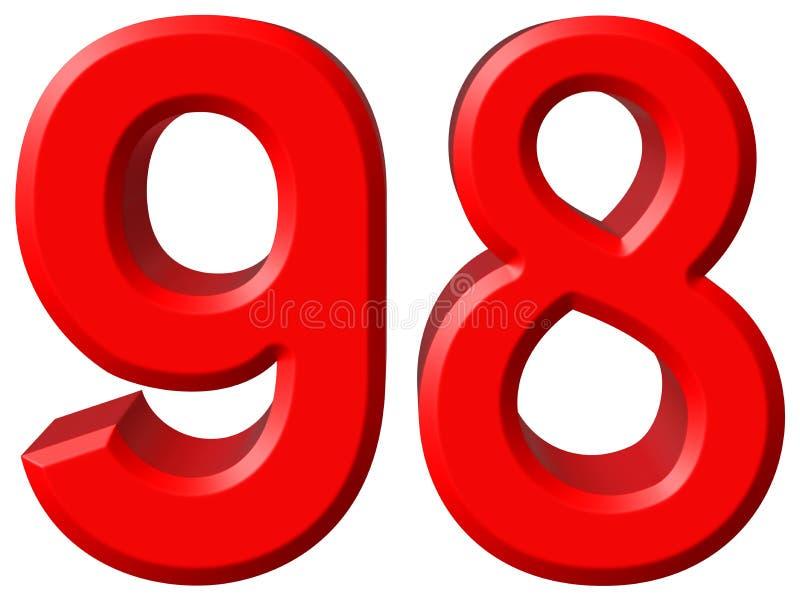 数字98,九十八,隔绝在白色背景, 3d rende 库存例证