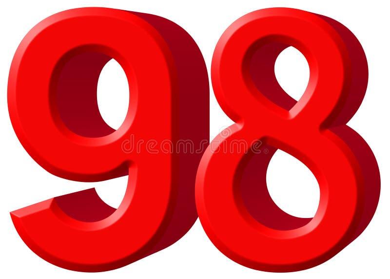 数字98,九十八,隔绝在白色背景, 3d rende 皇族释放例证