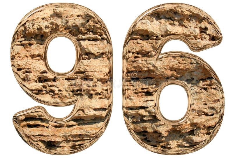 数字96,九十六,在白色,自然石灰石, 3d 皇族释放例证