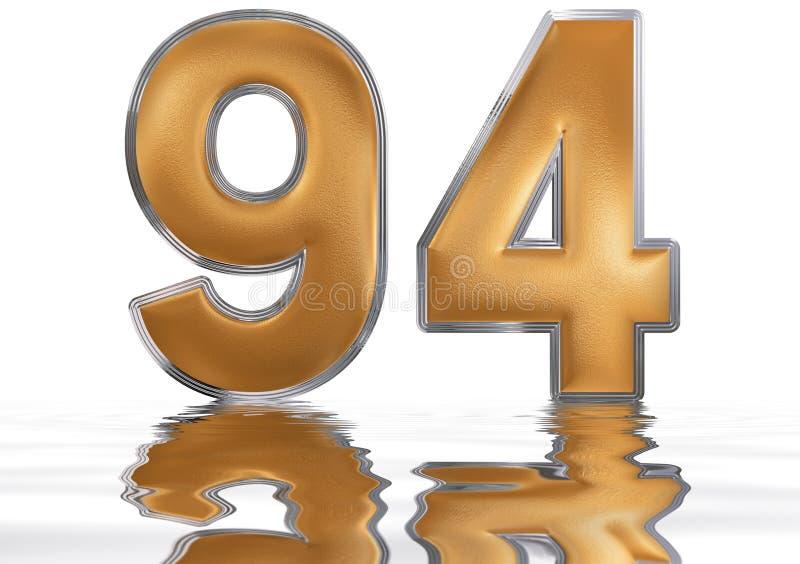 数字94,九十四,反射水表面上,孤立 向量例证