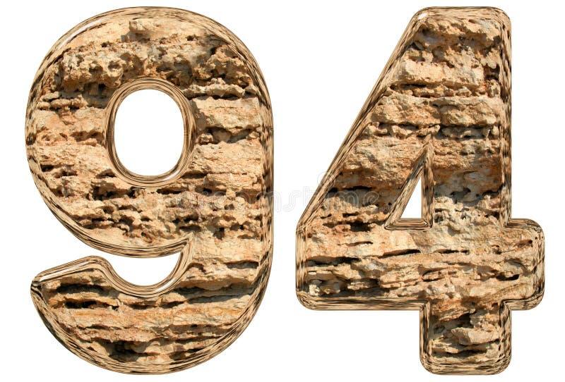 数字94,九十四,在白色,自然石灰石, 3 向量例证