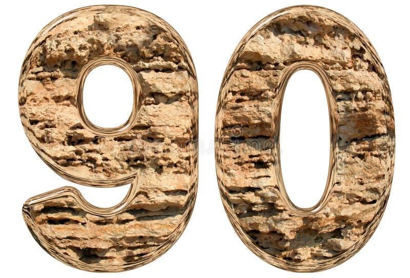数字90,九十,在白色,自然石灰石, 3d不适 向量例证