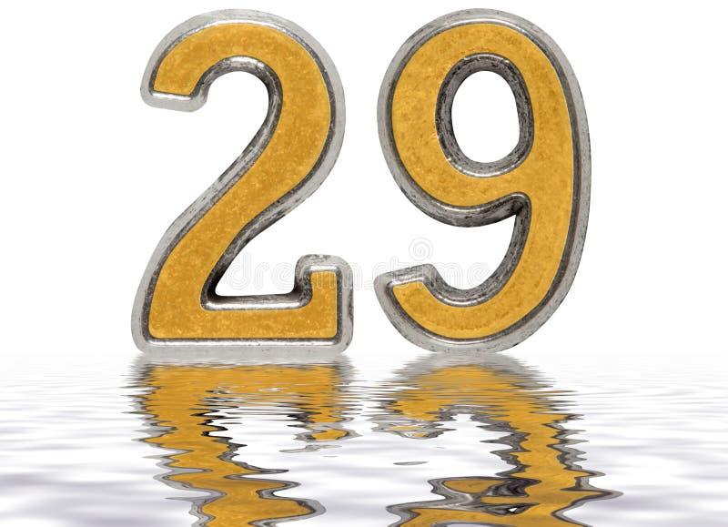 数字29,二十九,反射水表面上,孤立 库存例证