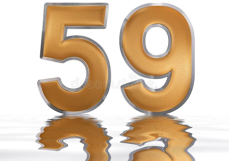数字59,五十九,反射水表面上, 向量例证